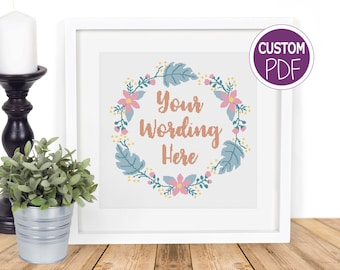 Create your own Cross Stitch Pattern, Personalised Contemporary Custom Modern Floral Cross Stitch pdf, counted cross stitch Chart