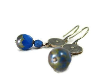 Gifts for Her--Blue Czech glass + brass circles, wear with jeans or dresses handmade jewelry earrings  TAGT  aGiftofLaughter tagt blue brown