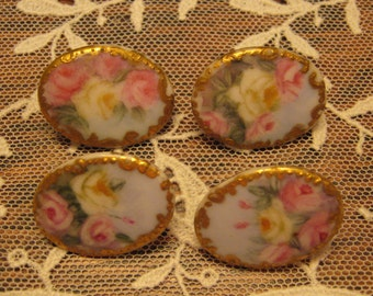Victorian China Stud Buttons with Hand Painted Roses