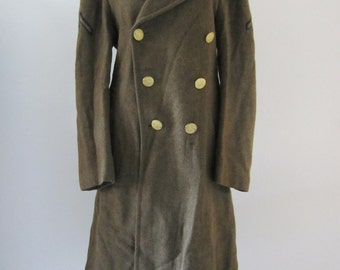 1942 WWII US Air Force Heavy Wool Overcoat w/ Patches, Men's S-M Women's M-L // 40s Private Coat // Winter Army Field Coat