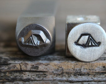 Tent-(Camping)Metal Stamp-8mm Size-Steel Stamp-New Metal Design Stamps-by Metal Supply Chick