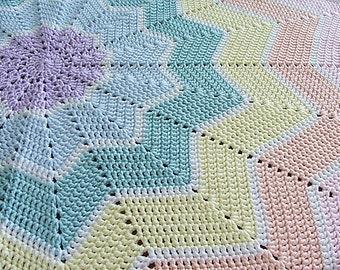 Round Ripple Crocheted Baby Blanket
