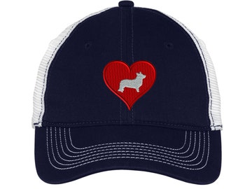 Love Heart Corgie  Mesh Back Hat.  Embroidered Corgie Hat - Mesh Back.  Embroidered Baseball Hat  Embroidered Corgie Trucker Hat. DT607