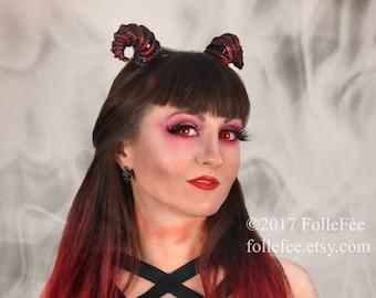 Gothic horns Devil horns Gothic headpiece Gothic headdress Devil cosplay Demon horns Devil costum Horns headband WGT Wave gothic treffen