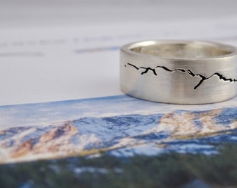 Custom Landscape Mountain Ring, 8mm band, Mountain Wedding band, Handmade Mountain Ring, Recycled Silver, Gold or Platinum, Mountain Ring