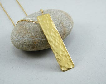 Gold Rectangle necklace Hammered  bar necklace Gold bar necklace Long bar necklace
