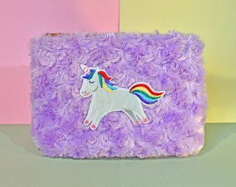 Unicorn Furry Lilac Make-Up Bag/Pencil Case