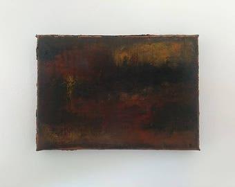 "Geo-Peeking Small Abstract Oil Painting 7""x4.75""x0.75"""