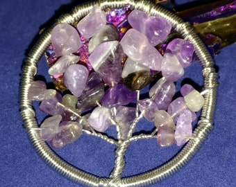 Amethyst Tree of Life Pendant Necklace