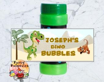Printable Personalized Birthday Dinosaur bubble bottle label