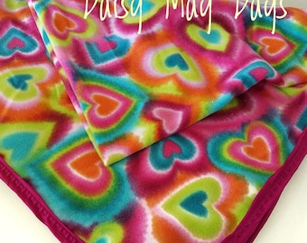 Tie Dye Hearts Toddler Blanket, 42 in x 52 in, Fuchsia, Rainbow multi-color,Dark Pink, with Heart Stitching, Fleece, Soft and Cuddly
