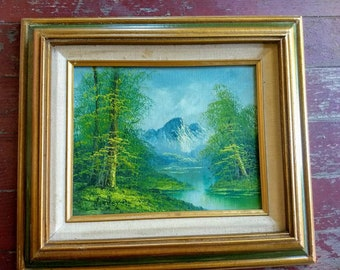 Vintage original art painting of a forest, trees, a river and mountain, oil painting, manifest destiny, framed