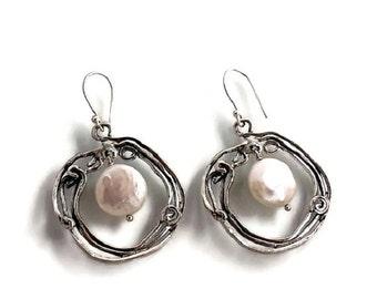Large pearl earrings, Pearl earrings, Silver earrings, Silver pearl earrings, Circle earrings, Pearl jewelry, Dangle earring, Israeli design