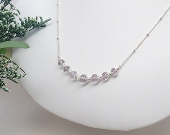 Pink Amethyst Necklace, Pink Necklace, Gemstone Necklace In Sterling Silver, February Birthstone, Bridal Jewelry, Summer Jewelry