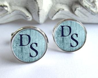 Blue Cufflinks, Custom Cufflinks, Personalized Monogram Cufflinks, Gift For Him