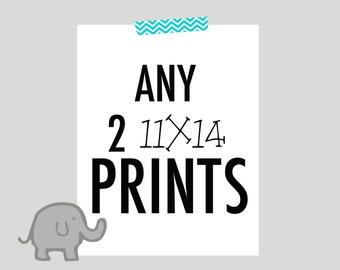 Any 2 11x14 prints, nursery art sale, choose your colors