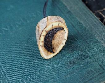 English Yew Wood Crescent Moon pendant - Dark Goddess, Crone - Wiccan, Witchcraft, Pagan