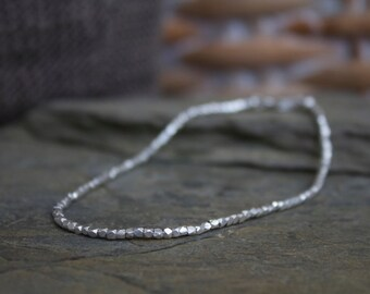 Tiny silver beaded bracelet, pure silver beaded bracelet, simple silver stacking bracelet, sterling silver faceted beaded bracelet