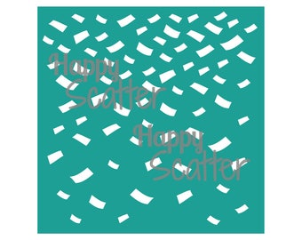 "Falling Confetti Stencil, Confetti 6x6"" Stencil, Random Pattern Stencil, 6x6 Stencil, Mixed Media Stencil, Scrapbooking, Cardmaking"