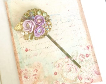 sweet antique brass bobby pin with Swarovski crystals and lavender purple porcelain flowers #1028-13