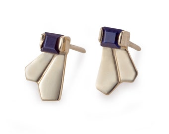 14k Gold Stud Earring - Dark Blue or Green Sapphire / Black or White Diamond -  Minimal Gold Stud - Gemstone Dainty Earrings-Gold Earrings