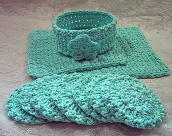 10 Piece Facial Set in Pale Aqua - 2 Facial Wash Cloths, 7 Scrubbies & Holder - Crocheted Cotton Yarn - Pamper Yourself - Nice Gift Set