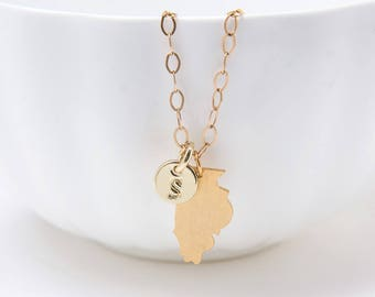 Illinois Necklace - Illinois State Gold Charm Necklace - State Jewelry - Personalized Jewelry - Personalized Birthday Gift for Sister