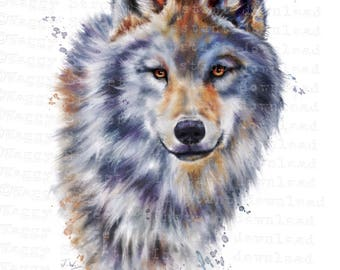 Wolf clipart. Animal clipart Watercolor clipart Wolves clipart. Animal clip art. Printable wolf watercolor. PNG wolf clip art. commercial.