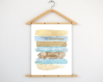 Brush strokes abstract art - abstract printable - modern wall art - instant download art - gold and blue decor