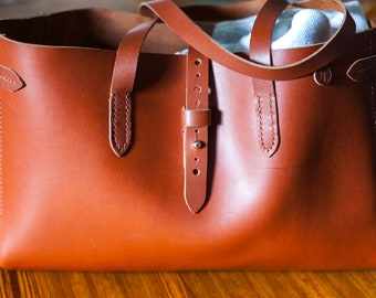 Copper Chromexcel Horween Tote, handsewn, copper brown, sturdy leather tote