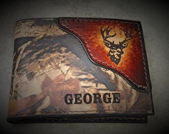 Deer Wallet, Father's Day, Realtree Camo Wallet, Classic Bifold Style, Name or Initials Engraved Free, Gift Boxed, Made in the USA