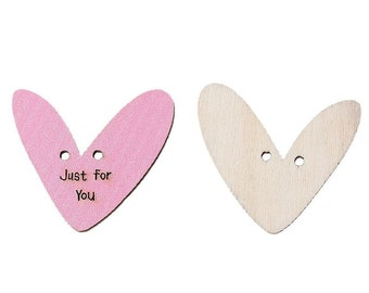 10 x 30mm quirky heart 2 hole pink, just for you buttons