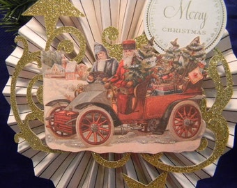 Victorian Santa Ornament, Victorian Christmas Ornament, Santa Claus Ornament, Paper Ornament, Rosette