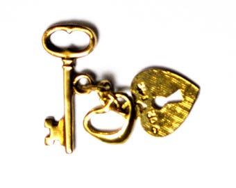 Beautiful 14k Gold Double Heart Lock Key Charm Pendant 25mm