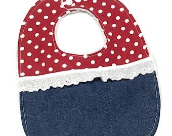 Toddler Baby Girl Bib ~ Denim red polka dots ~ Reversible BIB ~ Cotton & Minky ~ infant baby Bib ~ Baby gift - snaps bib ~ baby shower
