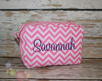 Personalized Monogrammed Hot Pink Chevron Cosmetic Bag, Makeup Case - Bridesmaid, Wedding, Birthday, Graduation