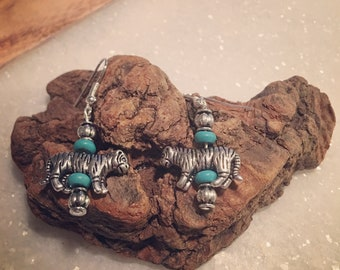 Tiger pewter earrings