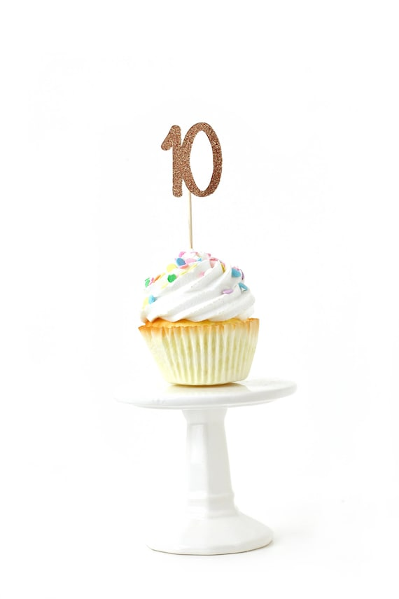 Number 10 Rose Gold Glitter Cupcake Toppers, Number 10 Toothpicks, Rose Gold Party Decor, Food Decoration, Tenth Birthday, 10th Birthday Ten