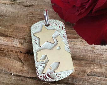 """Pendent/ Dog Tag/ Reining Horse with a Star /Artisan Handmade/ sterling silver  1 1/2""""x 1"""""""