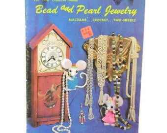 Macrame, Crochet, Two Needle Techniques Vintage Instruction Book |  Bead & Pearl Jewelry Instruction