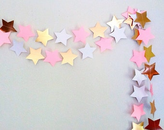 PINK and GOLD STAR garland / white pink and gold star bunting / twinkle twinkle little star party / blush ivory gold star garlands / banner