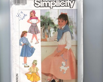 Childs Sewing Pattern Simplicity 7269 Girls Yoked Skirt Side Button Flared Poodle 10 12 14 Waist 24 25 26 27 Breast 28 29 30 32  UNCUT