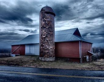 Red Barn Photograph, Barn Photography, Red Barn, Barn Photo, Red Barn Picture, Red Barn Print, Barn and silo photograpgh, Rustic Barn Photo