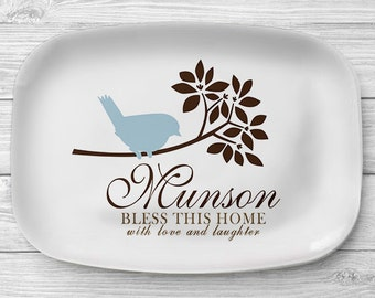 Personalized Blue Bird Platter, Melamine Serving Platter, Bird Personalized Serving Tray, Personalized Tray, Custom Tablew