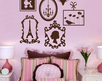French Frame Collage item 10023  Vinyl Wall Decal, Sticker