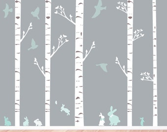 Birch Trees, Bunnies and  Birds Fabric Wall Decals - Set of 5