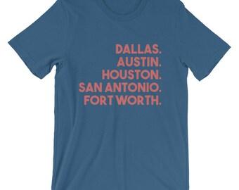 Cities of Texas T-Shirt | Dallas. Austin. Houston. San Antonio. Fort Worth. T-Shirt | Texas Pride USA Cities T-Shirt | Travel T-Shirt