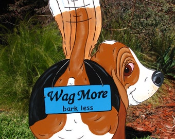 "Made to Order Hand Painted Basset Hound Yard Art - ""Wag More, bark less"""