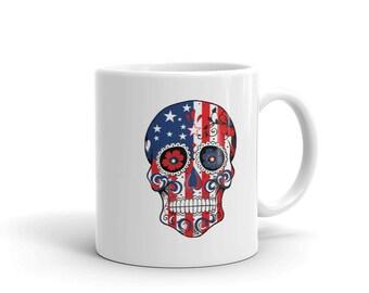 Sugar Skull American Flag Coffee Mug