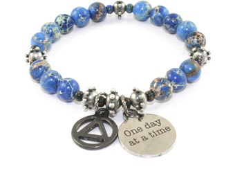 Recovery Bracelet, One Day At A Time Charm, Unity Medal, Blue Imperial Jasper Sobriety Jewelry